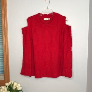 Sweaters - Cloth like new chunky red cold shoulder sweater